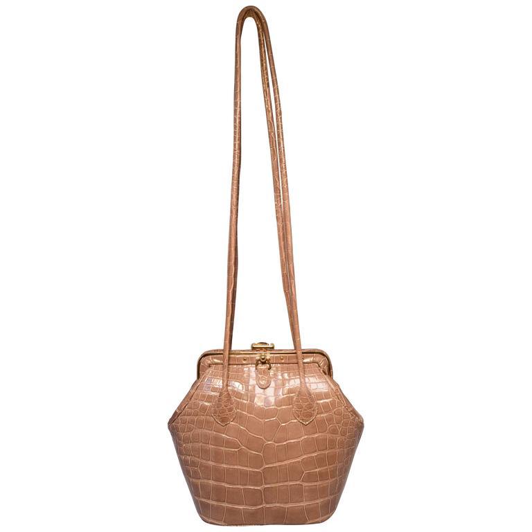 Judith Leiber Taupe Alligator Leather Framed Shoulder Bag