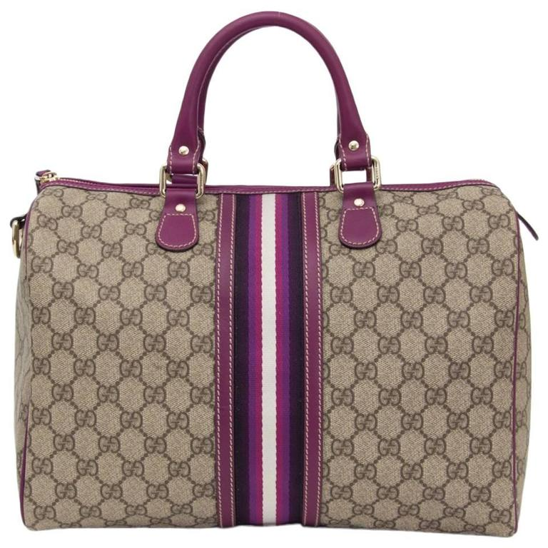 48bfb9f72 Gucci GG Plus Monogram Web Medium Joy Boston with purple details For Sale