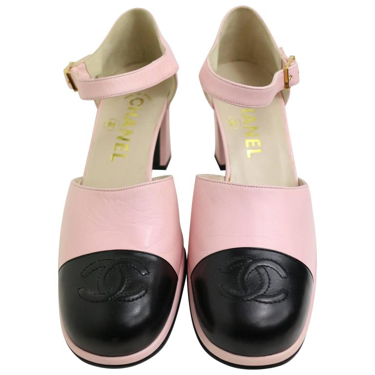 "Chanel Pink Two Tones Leather ""CC"" Logo Strap Loafers Shoes 1"