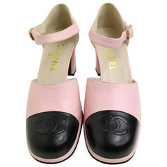 "Chanel Pink Two Tones Leather ""CC"" Logo Strap Loafers Shoes"