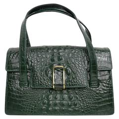 Georges Rech Dark Green Croc Embossed Leather Kelly Style Handbag