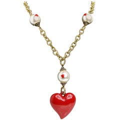 Moschino Pearl With Heart Shape Pendant Gold Metal Cable Chain Necklace
