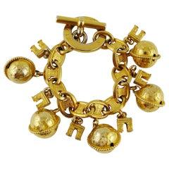 Celine Vintage 1990 Arc De Triomphe And Globe Gold Toned Charm Bracelet