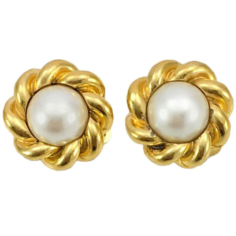 Chanel Gold-Plated Pearl Earrings - 1970s For Sale
