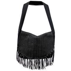 Dries Van Noten Woven Leather Fringe Bag