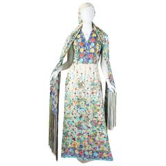 1970s Printed Lamé Chiffon Dress With Fringed Scarf