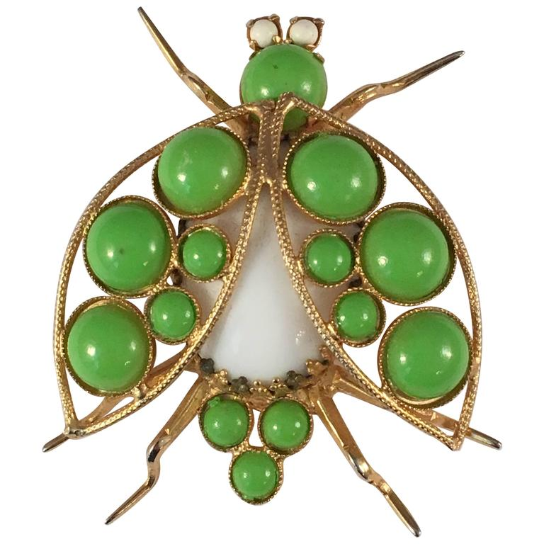1960s Kenneth Jay Lane Green Bug Brooch