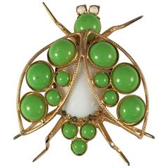 1960s Kenneth Jay Lane Green Bug Brooch