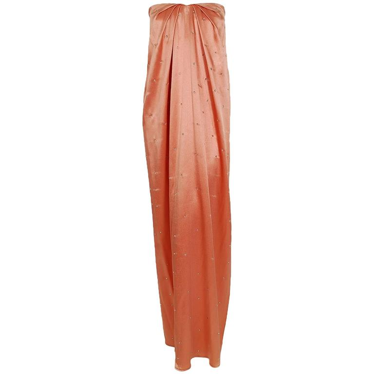 1970's Holly's Harp Rhinestone Peach Satin Strapless Gown & Ruched Jacket Set