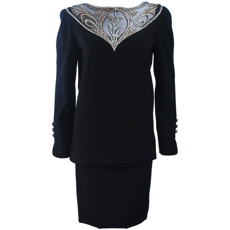 BOB MACKIE Black Skirt Suit Ensemble with Sheer Embellished Accents Size 4-6 For Sale
