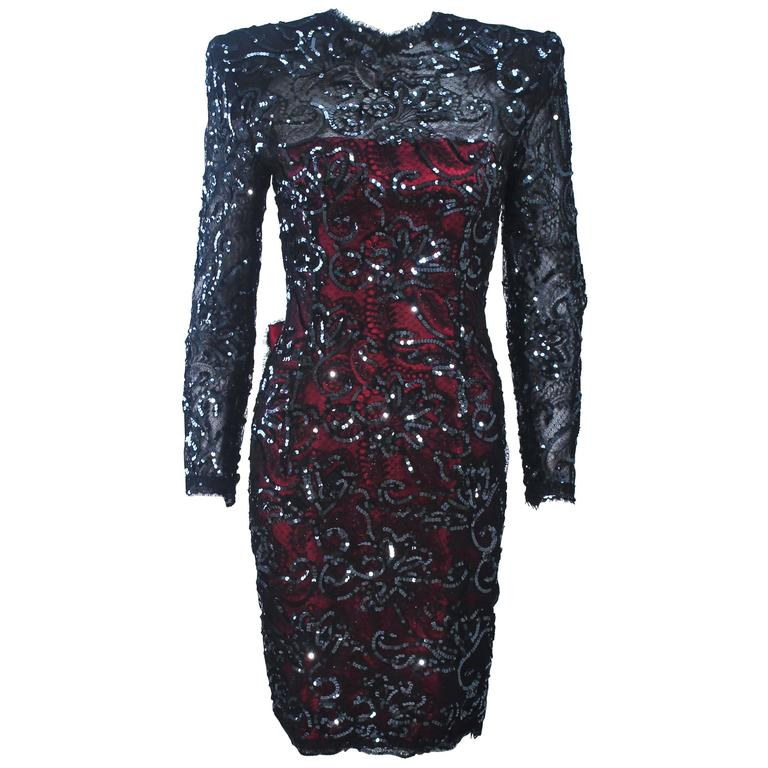 Odicini Couture Black And Magenta Sequin Lace Cocktail Dress With