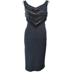 SYDNEY NORTH 1970's Grey Stretch Knit Cocktail Dress with Beaded Fringe Size 8