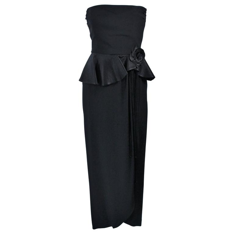 ALBERT NIPON Black Gown with Peplum and Draped Rose Size 6