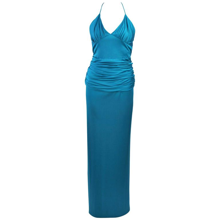 ELIZABETH MASON COUTURE Turquoise Silk Jersey Halter Gown Size 2 Made to Order