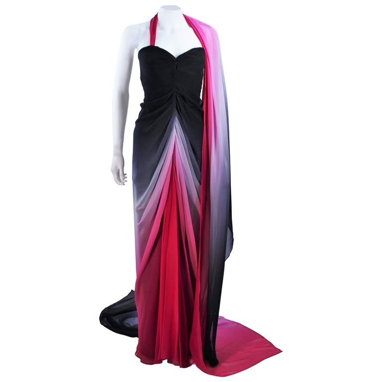 ELIZABETH MASON COUTURE Black to Pink Ombre Drape Gown Size 2 Made to Order