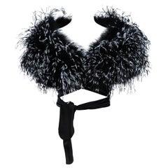 """ELIZABETH MASON COUTURE Made to Order Silk """" Black & White Feather"""" Wrap"""