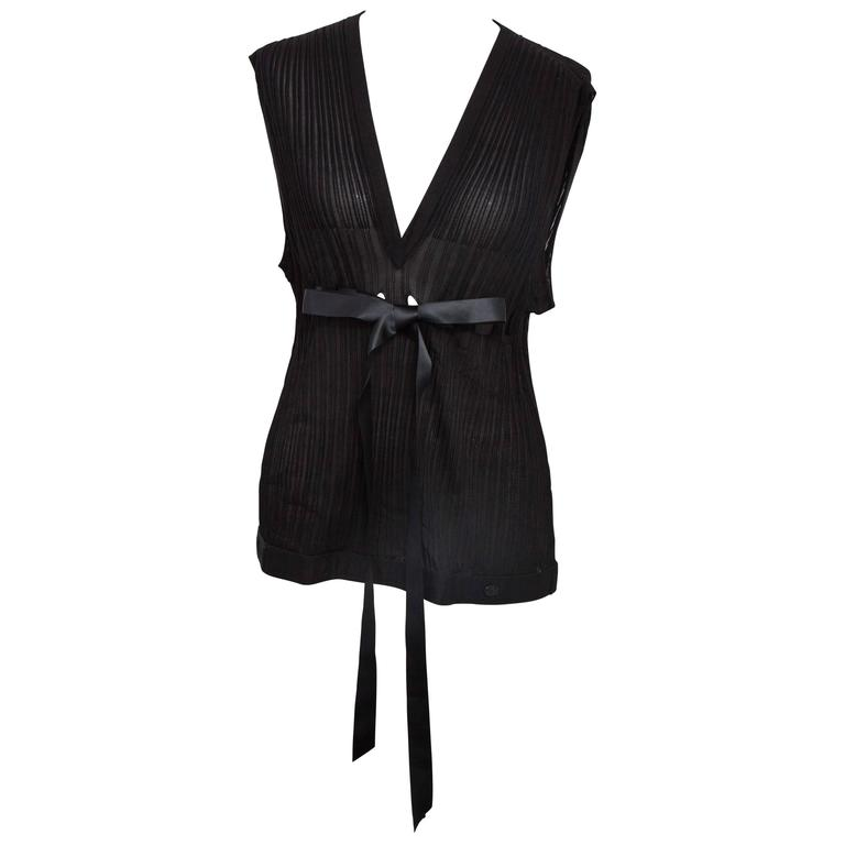 Chanel Black Sleeveless Knit Top with Bow