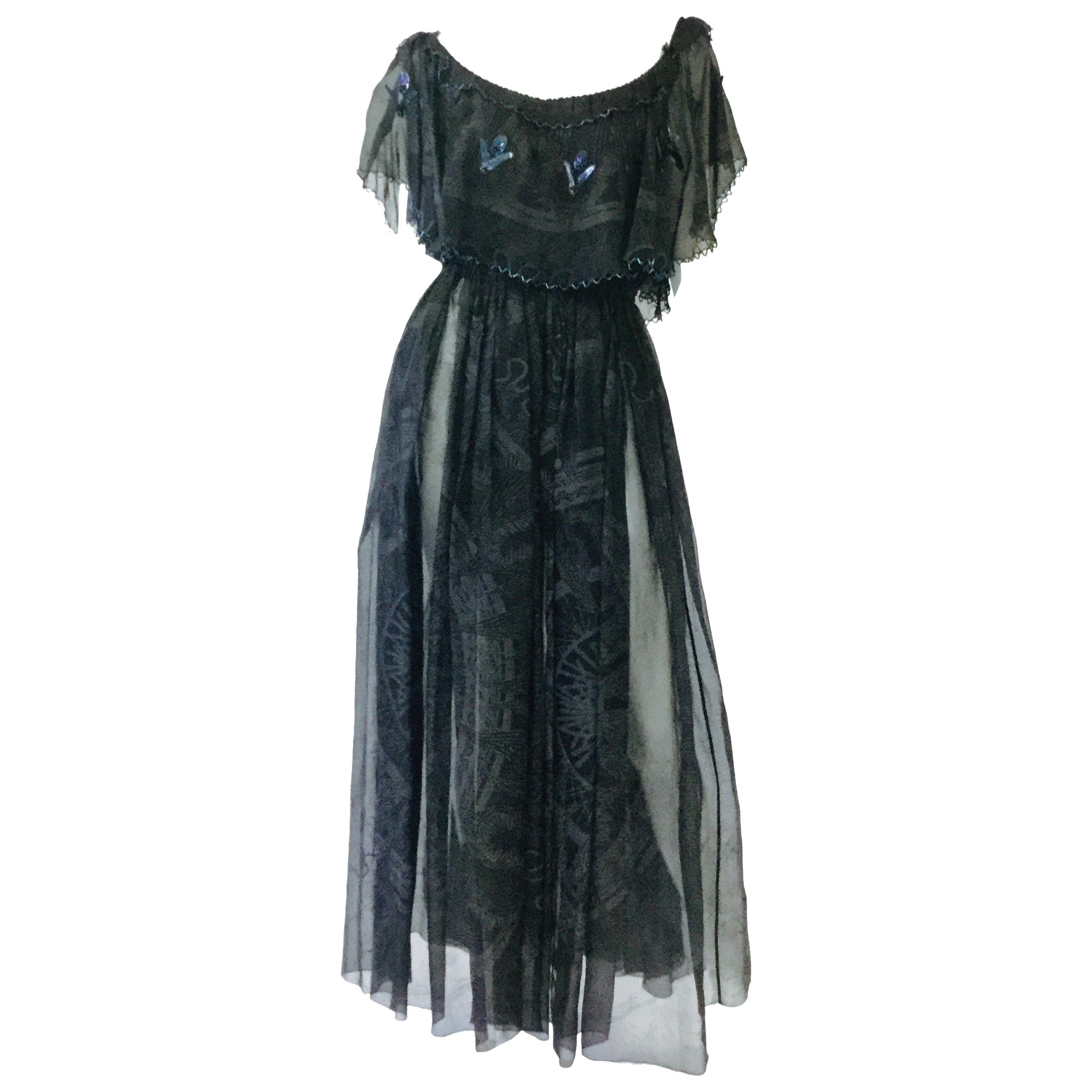 1970s Zandra Rhodes Hand Painted Black Silk Dress