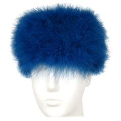 Vintage Givenchy 1960s Blue feathered hat