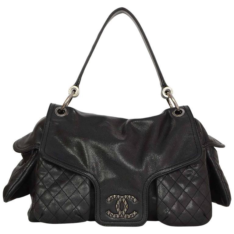 Chanel Black Caviar Rue Cambon Multi Pocket Shoulder Bag