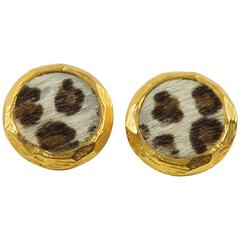 Edouard Rambaud Paris Clip On Earrings Faux Leopard Fur