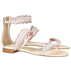 Oscar de la Renta NEW & SOLD OUT Cream Pink Leather Sandals Flats Shoes in Box