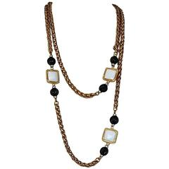 Francoise Montague Gold Chain and Pate de Verre Glass Station Necklace