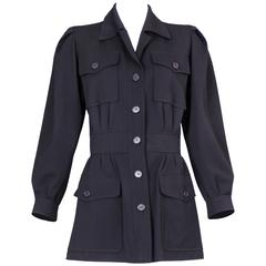 Yves Saint Laurent Safari Style Navy Gabardine Jacket