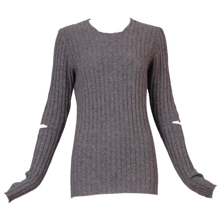 1990's Helmut Lang Heather Gray Ribbed Knit Sweater Top w/Cutout Elbows