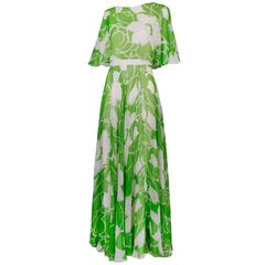 1970's Estevez Green & White Floral Garden Party Maxi Dress