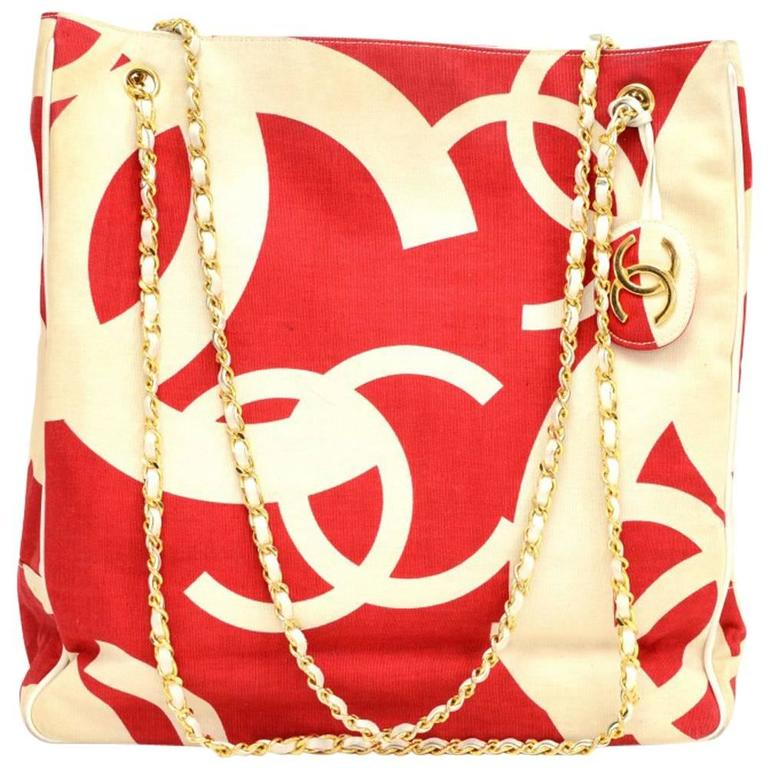 Vintage Chanel White x Red CC Logo Canvas Large Shoulder Tote Bag 1
