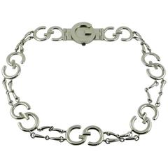 Gucci Vintage 1970s Silver Toned Iconic Signature Belt
