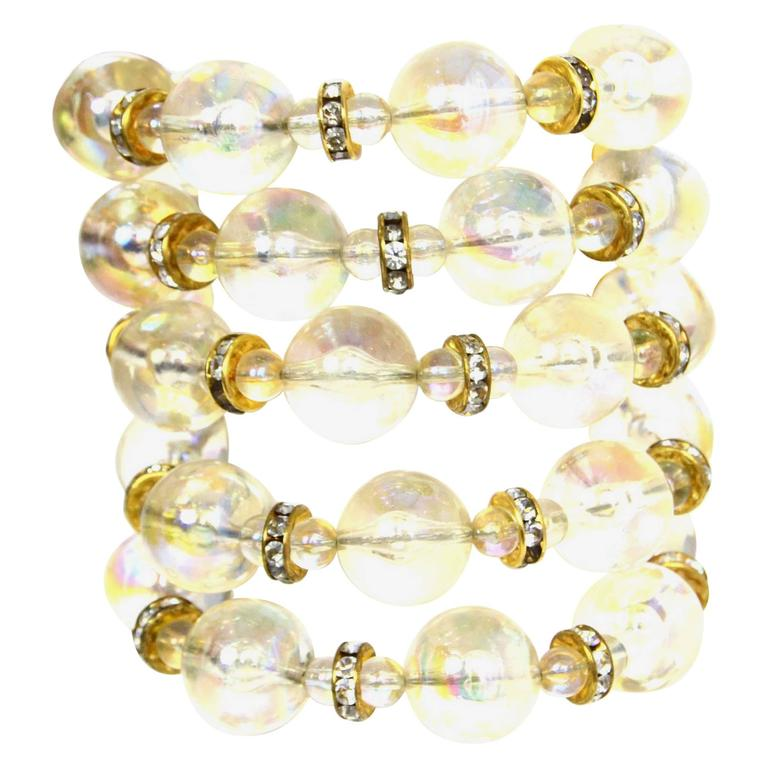 chanel vintage 88 multi strand clear bead and strass