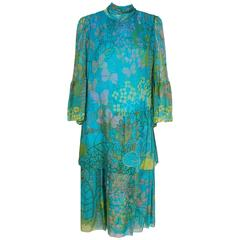 1968 Molyneux Haute-Couture Butterfly Floral Print Pleated Silk-Chiffon Dress