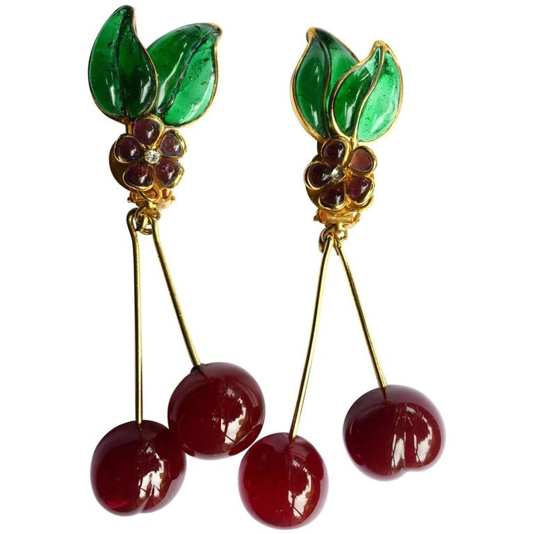 Vintage Chanel Gripoix Cherry Earrings  For Sale