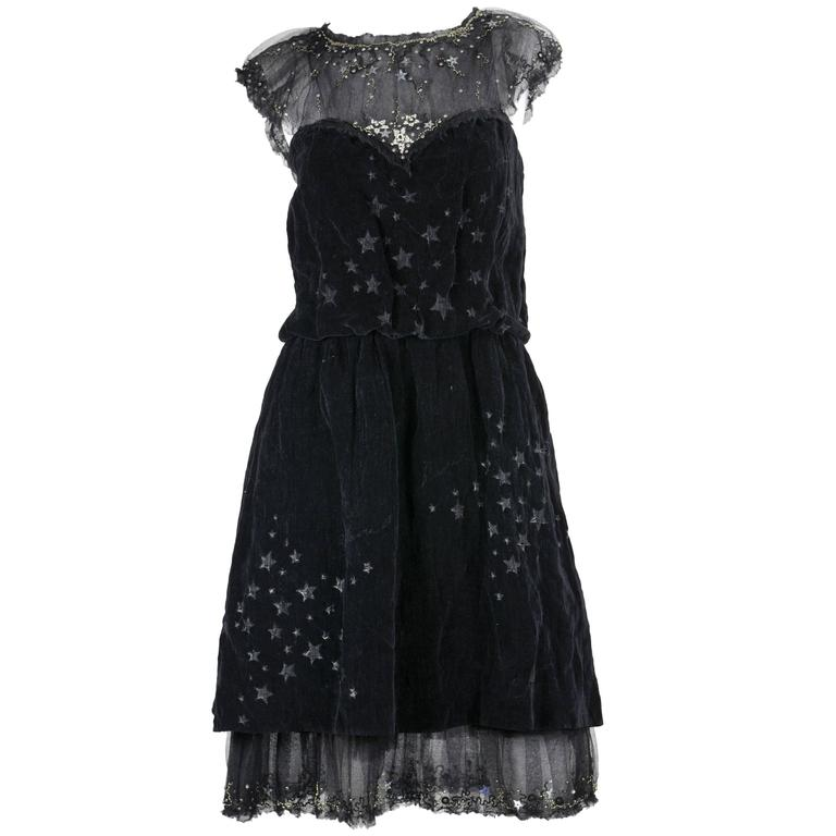 Chanel 2007A Demi Couture  Black Velvet Evening Dress w/ Beading and Stars FR 34 1