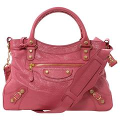 Balenciaga Pink Lambskin Arena Giant 12 Town Bag