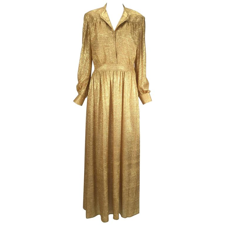 Gold Metallic Long Sleeve Vintage Maxi Dress, 1970s
