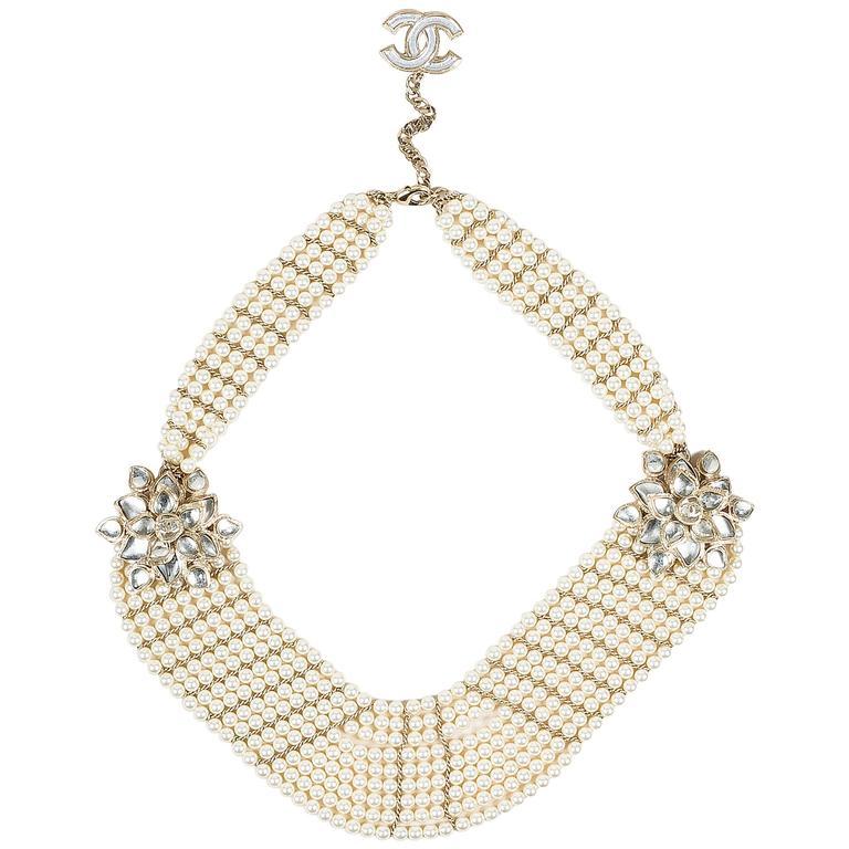 Chanel 12A Gold Tone Faux Pearl Glass Stone 'CC' Flower Pedant Bib Necklace 1