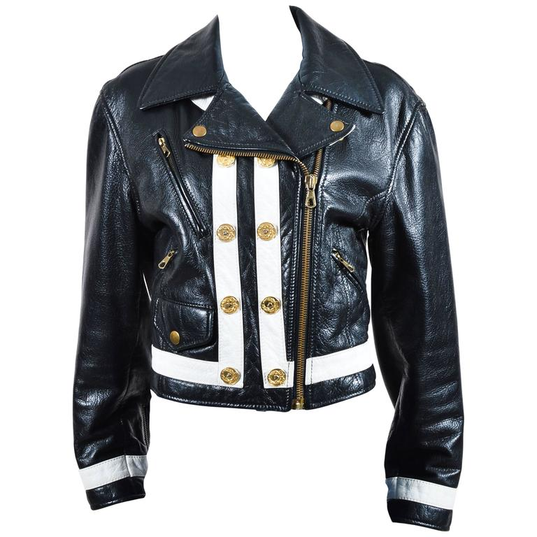 Moschino Cheap and Chic Black White Leather Striped Moto Jacket Sz 12 1