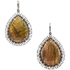 Irene Neuwirth Green Rose-Cut Labradorite & Pave Diamond Teardrop Earrings
