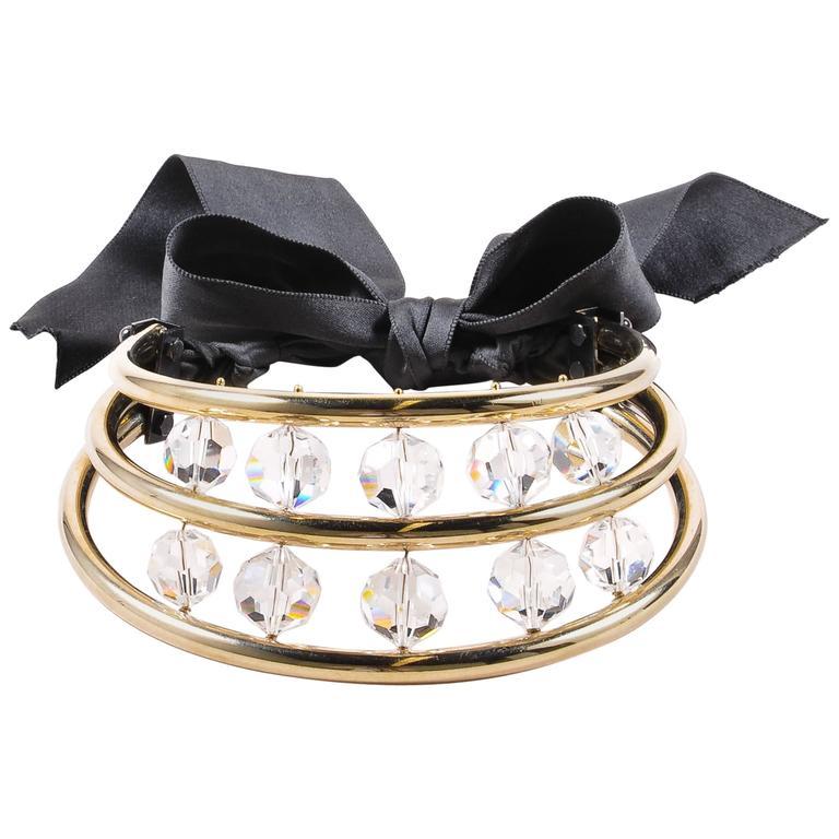Lanvin Gold Tone Black Crystal Bead Ribbon Tie Statement Collar Necklace 1