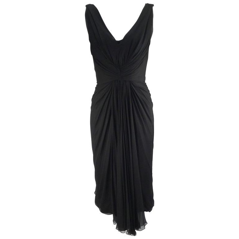 1960s Jobere Black Silk Cocktail Dress