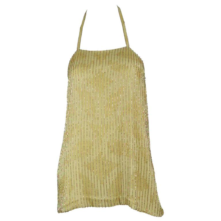 Chanel 1999A Sparkling Gold and Green Vertical Hand Beaded Halter Top FR44 1