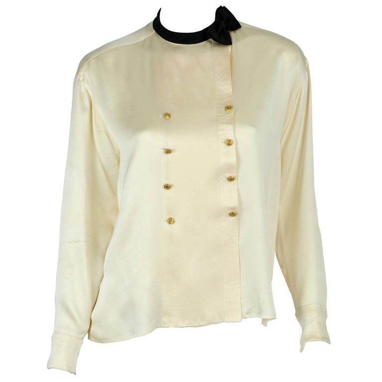 Chanel Boutique circa1984 White Satin Black Bow Pristine Classic Blouse FR38 1