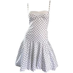 Enrico Coveri 1980s Vintage White & Black Polka Dot Cotton Fit & Flare Dress