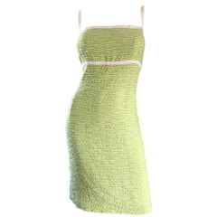 Escada Margaretha Ley Late 1990s Light Green White Boucle Size 452 12 - 14 Dress