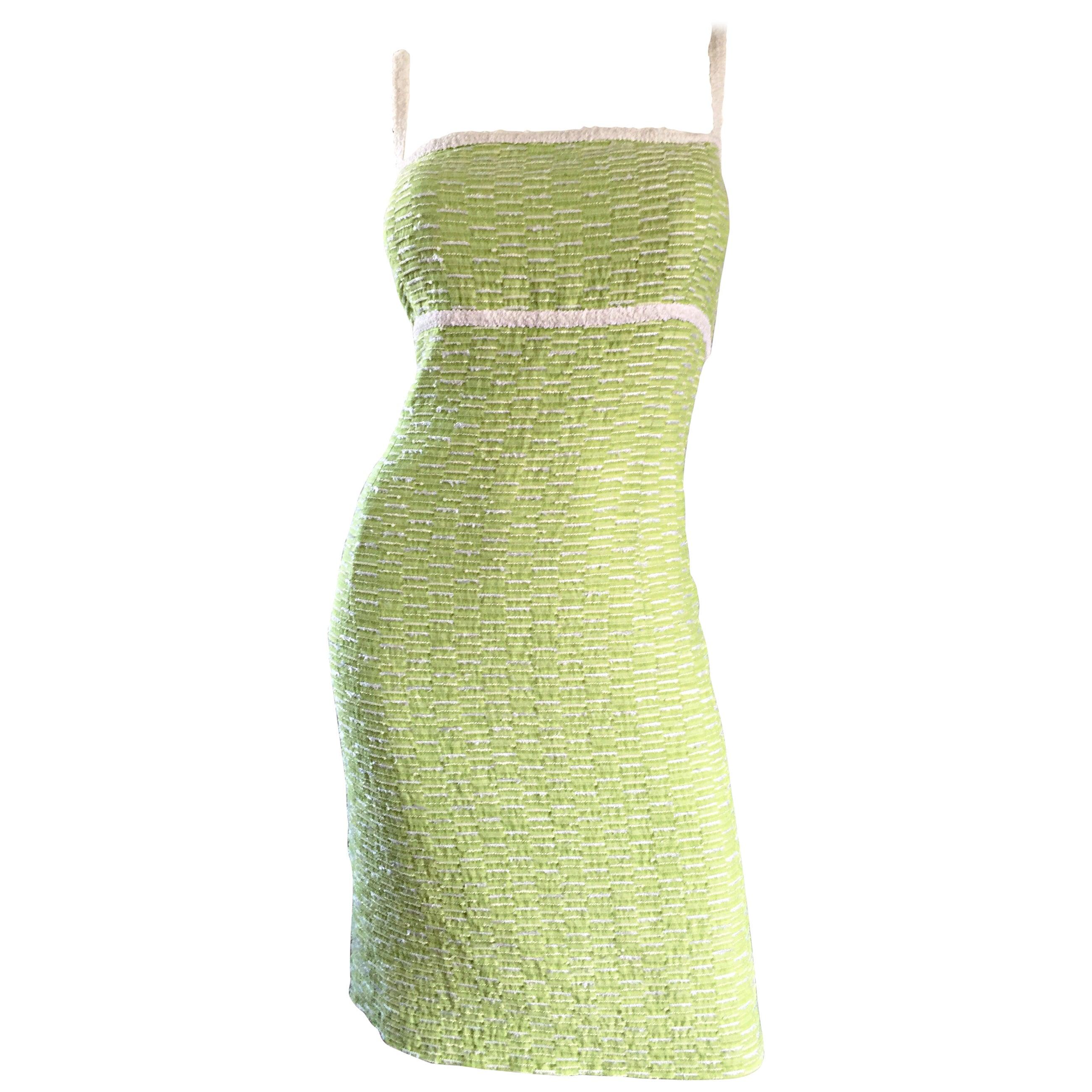 Escada Margaretha Ley Late 1990s Light Green White Boucle Size 452 12 - 14 Dress
