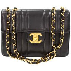 "Chanel 12"" Jumbo Black Vertical Quilted Leather Shoulder Flap Bag"