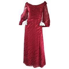 Vintage Liancarlo Couture Crimson Red Silk Zebra Print Dress w/ Bishop Sleeves